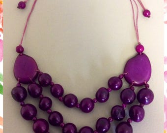 Stunning Tagua Nut & Acai Berries Necklace,Organic Jewelry,My Peruvian Treasures,Artisan Made Vegetable Ivory Necklace,Chunky necklace