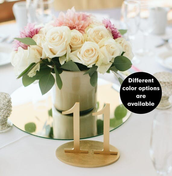 Gold Table Numbers Wedding table numbers Plain wood Wedding