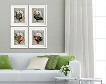 French Chateau Country Roosters - Art Prints - 4 Print Set - 8x10 prints - Rooster Art - French Country Style - Gray