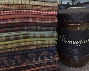 Fabric: Bundle FQ Homespuns 26pc - Variety Sampler