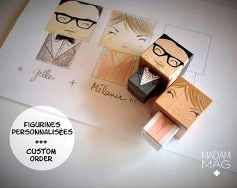 Figurines mariage cubiques en bois personnalisées d'après photo .