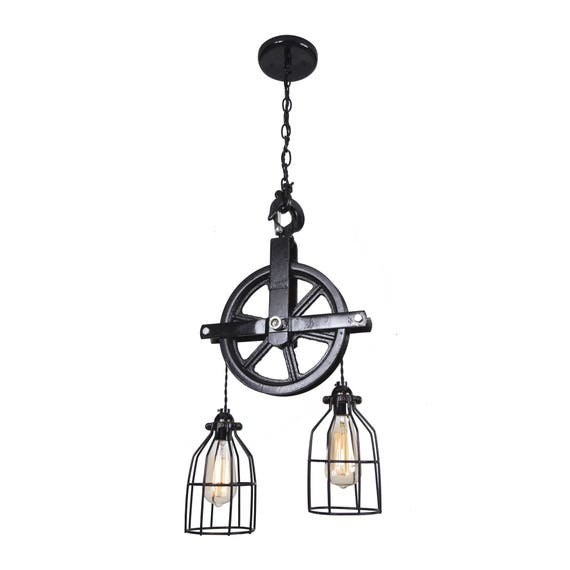 Rustic Light Industrial Chandelier Rope Pulley By: Industrial Pulley Light Barn Pulley Light Industrial Light