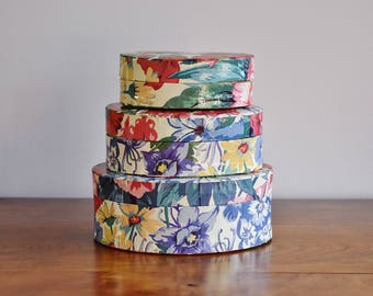 Oval Floral Stacking Boxes, Set of 3 Two's Company Flower Paper Covered Paper Mache Nesting Boxes, Keepsake Boxes Jewelry Boxes Papier Mâché