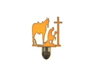 Praying Cowboy Rusty Metal Image Style Night Light