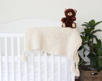 """Toddler Blanket  // Baby Blanket // Crochet Blanket // Knit Baby Blanket // Chunky Texture // 37"""" by 52"""" // Simply Maggie"""