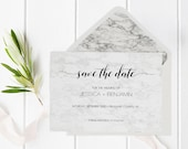Marble Save the Date Template, Marble Save the Date, Printable Save the Date, Calligraphy Save The Date PDF Template, Minimal Save the Date