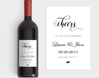 wedding wine labels wedding wine bottle labels cheers to. Black Bedroom Furniture Sets. Home Design Ideas