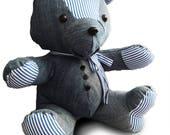 Keepsake Bear, memory bear. Custom made. Teddy Bear made out of your favorite fabric, clothing. Denim bear