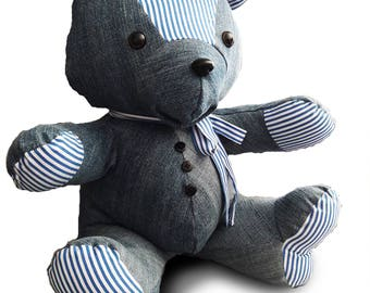 Keepsake Bear, memory bear. Custom made. Teddy Bear made out of your favorite fabric, clothing. Denim bear