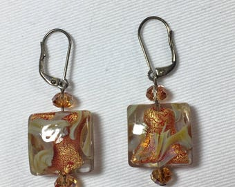 Earrings Murano Square Beads Gorgeous Colors