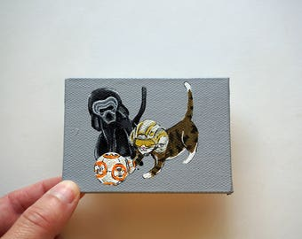 Star Wars Cats Painting, Rey and Kylo Ren Cats Acrylic Painting, Star Wars Cat Art by Amber Maki