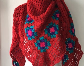 Handmade Crochet shawl bright red with flowers