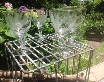 Vintage Crystal Wine Glasses or Water Goblets - set of 6