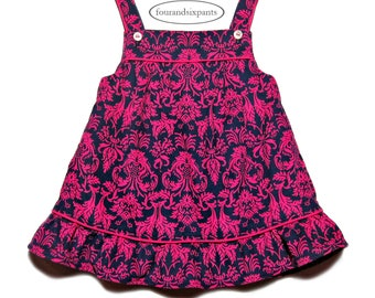 Girls Pinafore dress, Corduroy pinafore, winter dress, toddler girl dress, attached petticoat, fully lined in silk, corduroy dress, damask