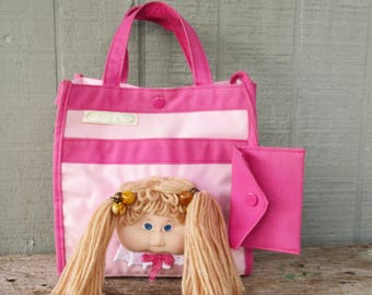 Vintage Cabbage Patch Pink Kids Tote Bag/Purse- Doll face with Yarn Hair