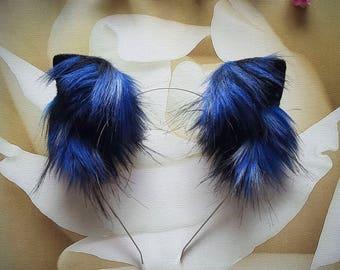 Galaxy Black-Blue Fluffy Kitten-Play Animal Cosplay Ears Kitten-Gear Ears Handmade Costume Faux Fur Black-Blue Ears