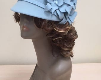 Furfelt Winter Hat Cap Handmade Millinery Blue Women Autumn Custom Hair Accessories Headwear Headpiece