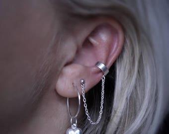 Ear cuff with a chain.Sterling silver ear cuff.Earrings.Sterling silver with a chain.Sterling silver wrap earring. Cartilage earring.