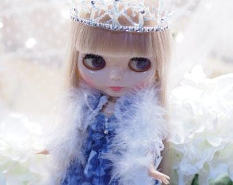 Blue & White Snow Queen Ice Princess Winter Frozen Lolita Doll outfit for Blythe