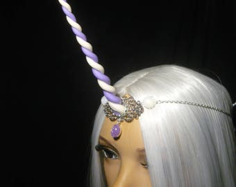 Lilac Swirls Unicorn - Tiara with handsculpted Unicorn horn