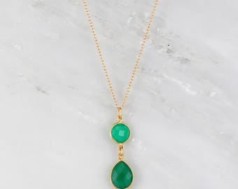 Green Onyx drop Necklace, Green stone Necklace, Onyx Jewelry, Gold Filled Necklace, Two Tier Necklace, Gift for Bridesmaids, Wedding Gift