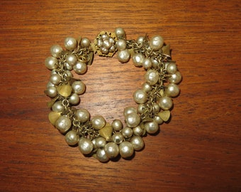 Vintage Designer Signed Miriam Haskell Gold Gilt Faux Pearl Bracelet - Free Shipping