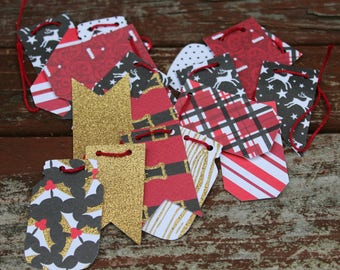 Black, Red, and God Holly Christmas Bunting