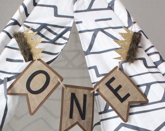 Where the Wild Things Are Paper Banner with Gold Crowns and Faux Fur