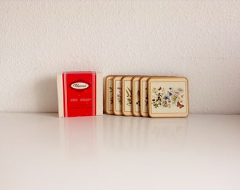 """6 Vintage, """"Field Flowers"""" Coasters by Pimpernel (Made in England)"""