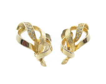 Vintage  Rhinestone Earrings, Gold Tone, Clip Ons