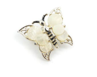 Vintage Butterfly Brooch, Mother of Pearl Look