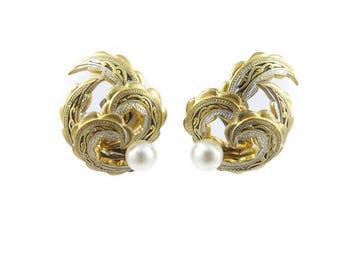 Vintage Damascene Earrings, Faux Pearl, Spanish, Clip Ons