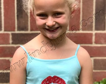 Child's tank top or tee with red vinyl lips