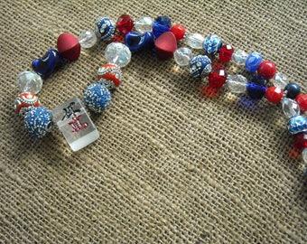 Mahjong Necklace - Mahjong Gift - Jesse James Beads - Patriotic Jewelry - Clear Mahjong Tile - Mahjong Game