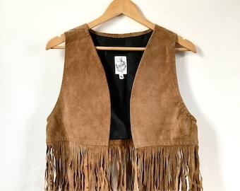 Vintage Suede Fringed Vest. Suede Fringed Waistcoat. Vintage Suede Waistcoat. Suede Vest. Boho Waistcoat. Brown Suede Vest. 70's Suede Vest
