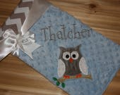 Owl- Personalized Minky Baby Blanket with Embroidered Owl-  Grey Chevron & Blue Minky