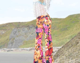 FLORAL PRINT 70's  tangerine purple free people hippie boho dance beach resort yoga festival burning man gypsy fashion flare bell bottoms