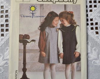 Simplicity 7058 Sewing Pattern Child Girl Jumper and Blouse Size 3 DIY Vintage Clothing Fashion Sewing Crafts PanchosPorch
