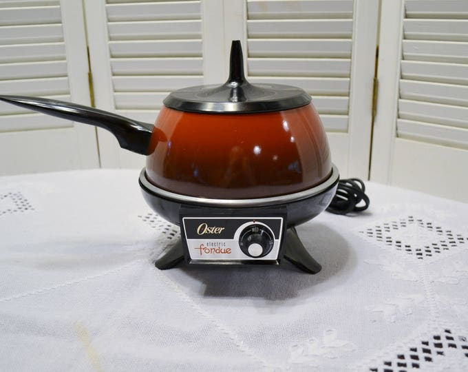 Vintage Oster Electric Fondue Poppy Red Pot with Lid Warmer Retro Small Appliance Entertaining Party Tailgate PanchosPorch