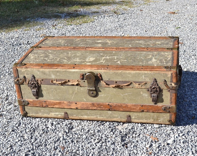 Vintage Trunk Crouch and Fitzgerald Low Profile Coffee Table Wood Steamer Trunk Wooden Chest Antique Farmhouse Primitive PanchosPorch