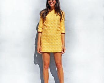 Yellow Dress, Wedding Guest Dress, Vintage 1960s Dress, Dress With Sleeves, Jacquard Dress, Party Dress, Summer Dress, Pale Yellow Dress 60s