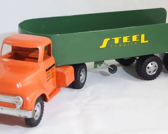 1955 Tonka Tractor with Steel Carrier Trailer - Repaint
