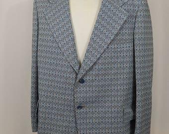 Vintage Men's Sport Coat Jacket 48R Extra Large XL Big Lapels Seventies 70s Blue Black White Diamond Weave The Dimension Shop Big and Tall