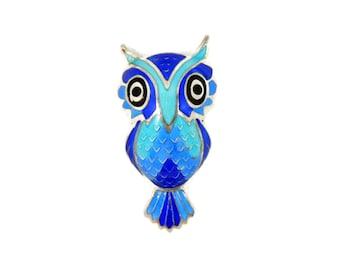 Silver Blue Enamel Owl Brooch 980 Sterling Maya Mexico Vintage