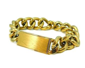 Vintage Speidel I.D. Bracelet Gold Plated NOS Unengraved Big Curb Link