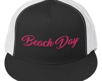 Cap. Beach Day Snapback Hat. Trucker Hat