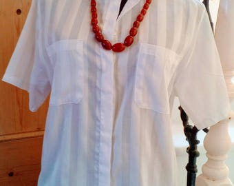 Vintage White Cotton St Michaels 1980s Blouse
