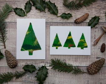 Pack of 12 Christmas Cards - Felt Christmas Tree Cards - Blank - Recycled Envelopes - 6 of Each Design - Set of Cards / Box of Cards
