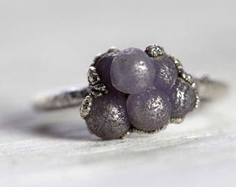 Grape Agate Ring Size 6 Electroformed Ring Botryoidal Stone Jewelry Silver Ring Purple Stone Ring Electroformed Jewelry