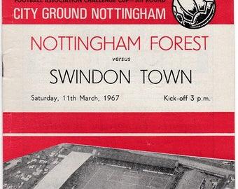 Vintage Football (soccer) Programme - Nottingham Forest v Swindon Town, FA Cup, 1966/67 season
